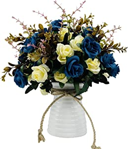 NAWEIDA Artificial Flowers with Vase Faux Flower Arrangements for Table Decor Table Centerpieces for Dining Room-Navy Blue
