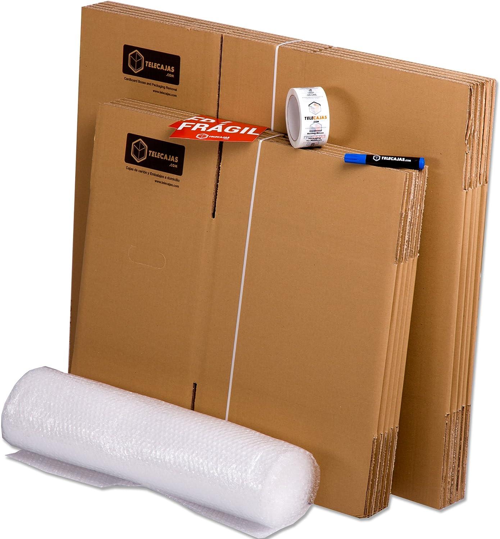 TELECAJAS® | Pack Mudanza (Cajas de cartón, plástico Burbujas, precinto, etc) con el Embalaje Necesario para una mudanza de casa (Pack MUDANZA Basic)