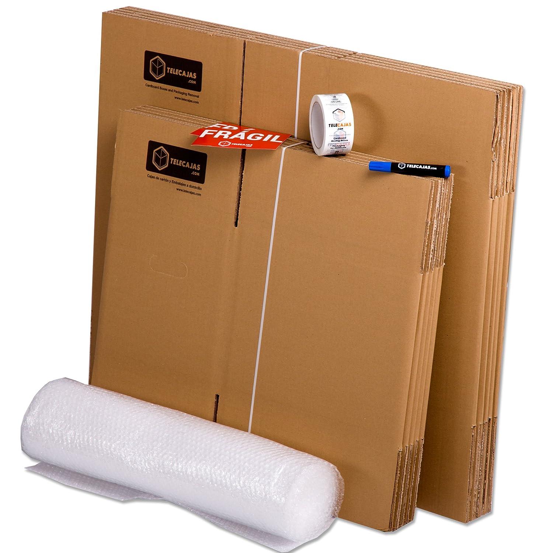 Pack Mudanza (Cajas de cartón, plástico burbujas, precinto, etc) con el embalaje necesario para una mudanza de casa (PACK MUDANZA BASIC): Amazon.es: Hogar