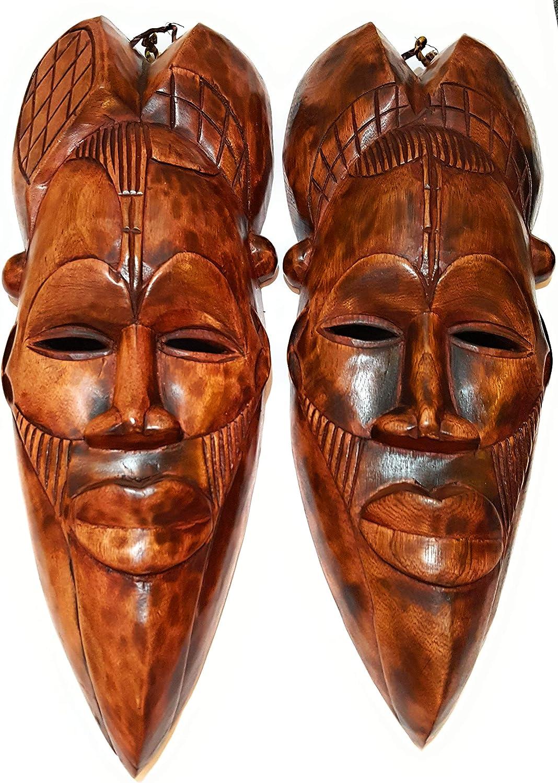 NOVARENA African Art Cameroon Gabon Fang Wall Masks and Sculptures - Africa Home Mask Decor (2 PCs Congo 12 Inch Brown Masks)