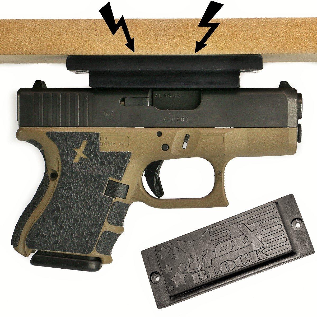 Foxx Block Magnetic Gun Mount Vehicle Home - Gun Magnet Mount Urethane Coated Strongest on Amazon! Concealed Firearm Holder Handgun, Pistol, Revolver, Car, Truck, Desk, Wall Vault FoxX Holsters