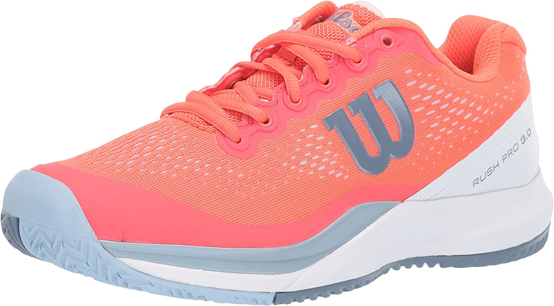 Wilson RUSH PRO 3.0 Tennis Shoes Women, Fiery Coral White Cashmere Blue, 8.5