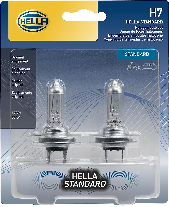 HELLA H7TB Standard-55W Standard Halogen H7 Bulbs, 12 V, 55W, 2 Pack
