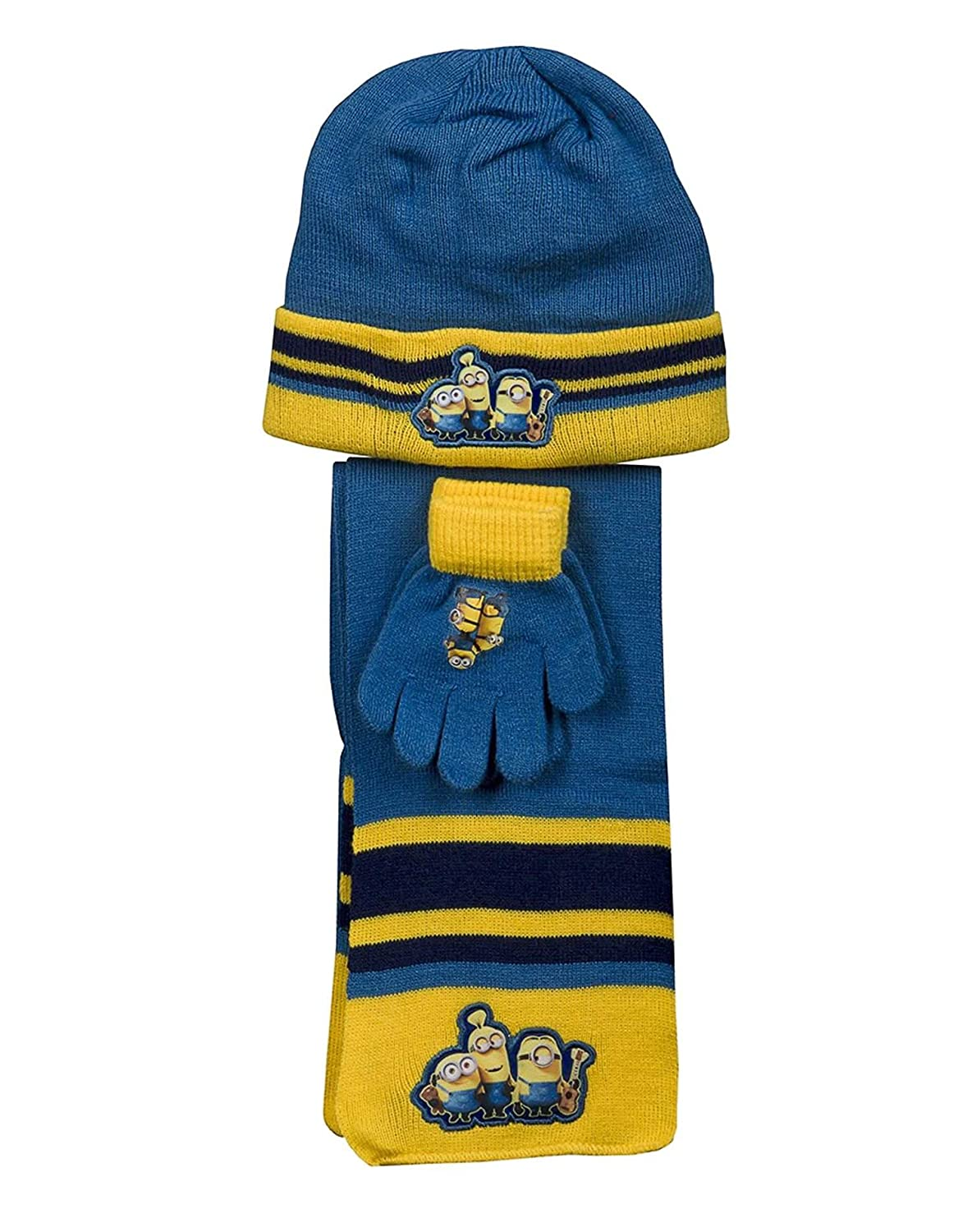 Official Boys Despicable Me Minions Gloves Beanie Hat /& Scarf Set One size 4-10 Years