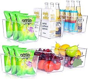 "Haliluya 6 Pack Refrigerator Organizer Bins, BPA Free Plastic Food Storage Bins Stackable Clear Fridge Organizer and Storage for Kitchen, Pantry, Freezer, Countertops, Cabinets || 10.1"" x 6"" x 5.2"""