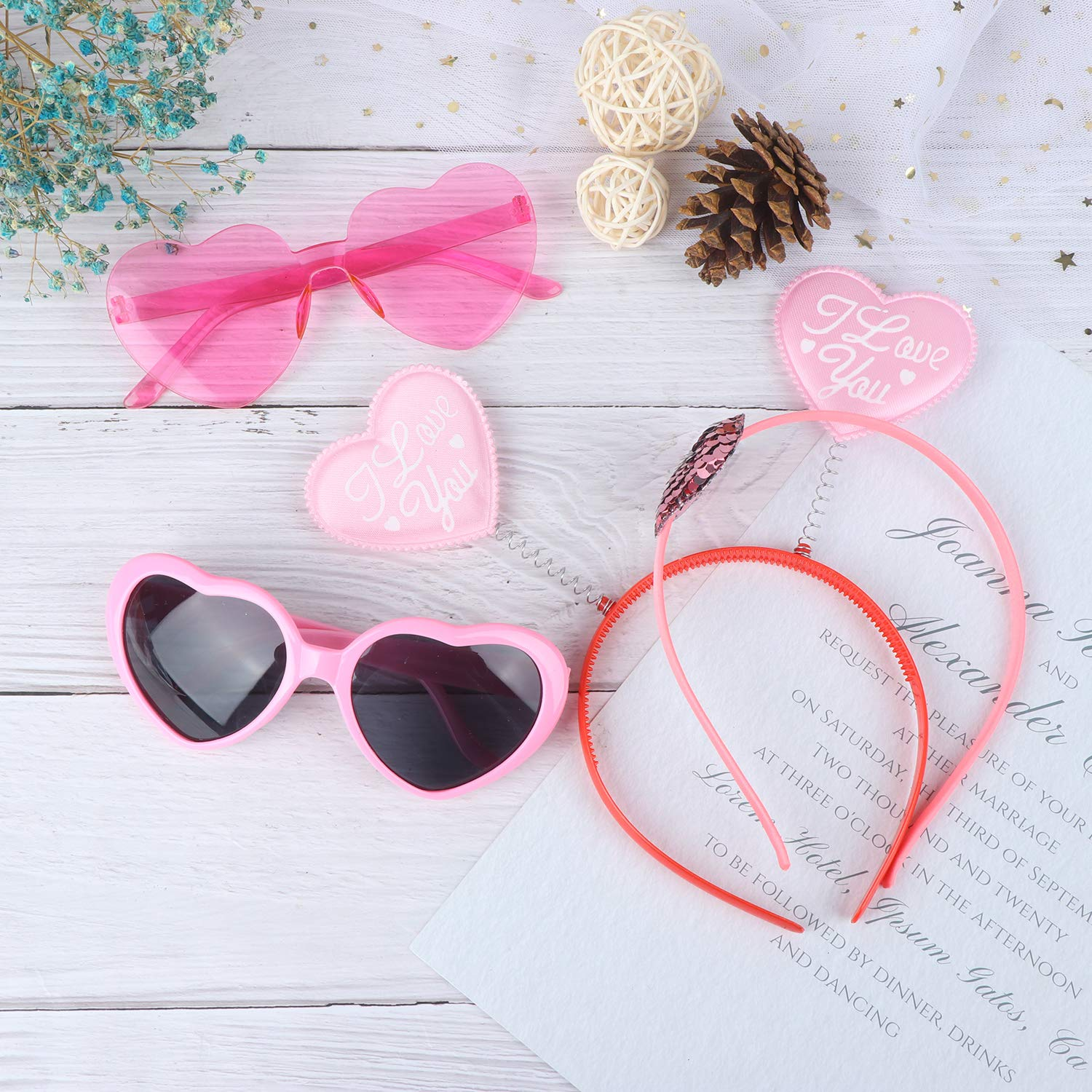 Olgaa 8 Pieces Valentines Day Heart Headbands Pink Heart Glasses Valentines Headboppers Glitter Heart Headbands Pink Sunglasses for Valentine Party Wedding Birthday Holiday Party Accessory