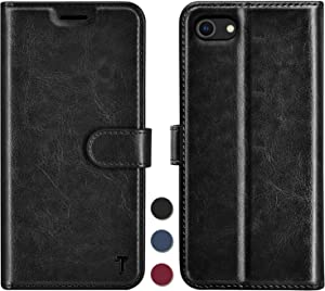 Njjex iPhone SE 2020 Wallet Case, for iPhone 8/iPhone 7 Case, RFID Blocking PU Leather Folio Flip ID Credit Card Slots Holder [Kickstand] Magnetic Closure Phone Cover for iPhone SE2 2nd Gen [Black]