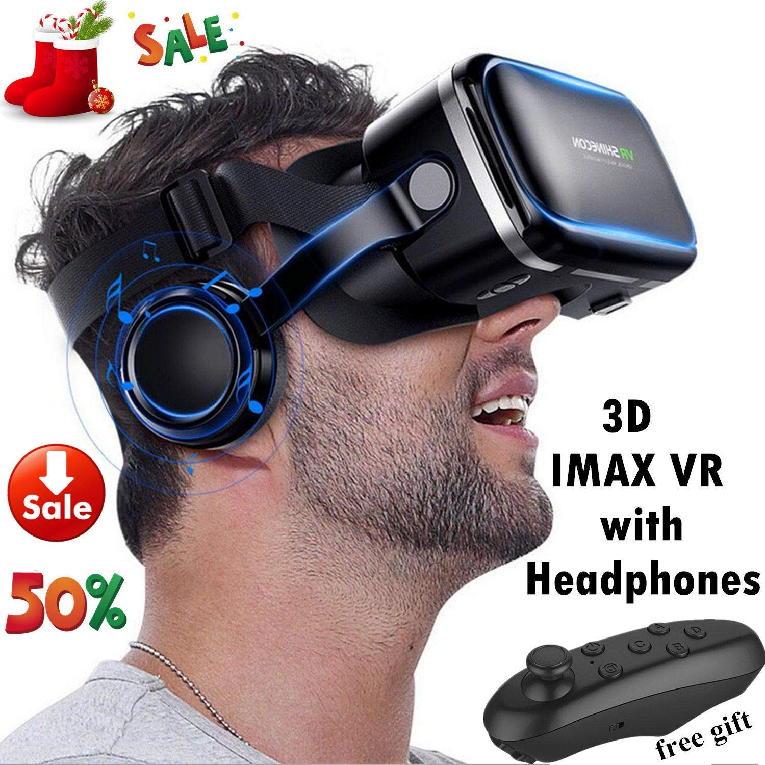 VR Headset Glasses, 3D Virtual Reality Headset with Headphones[HIFI] for IOS Android PC Cellphone 3D IMAX Movie Video Game Viewer, VR Goggles for iPhone X 8 7 6S 6 Plus, Samsung S8 S7 S6 Edge S5 etc by TSANGLIGHT