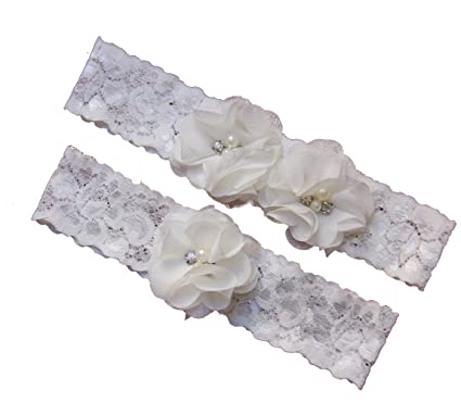 Ivory Wedding Keepsake Toss Garters Lace Vintage White Bridal Prom