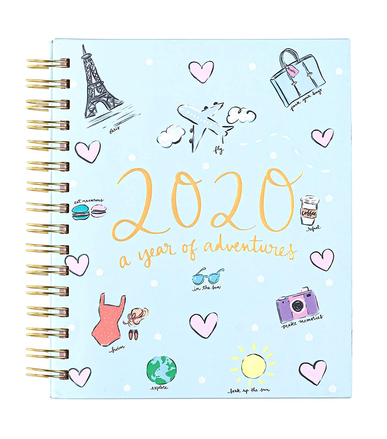 """2019-2020 Eccolo Spiral Agenda Planner, Dayna Lee """"Adventures"""", Hardcover, Weekly & Monthly Views, 18 Months, Sticker Sheets, Full Color Graphics and ..."""