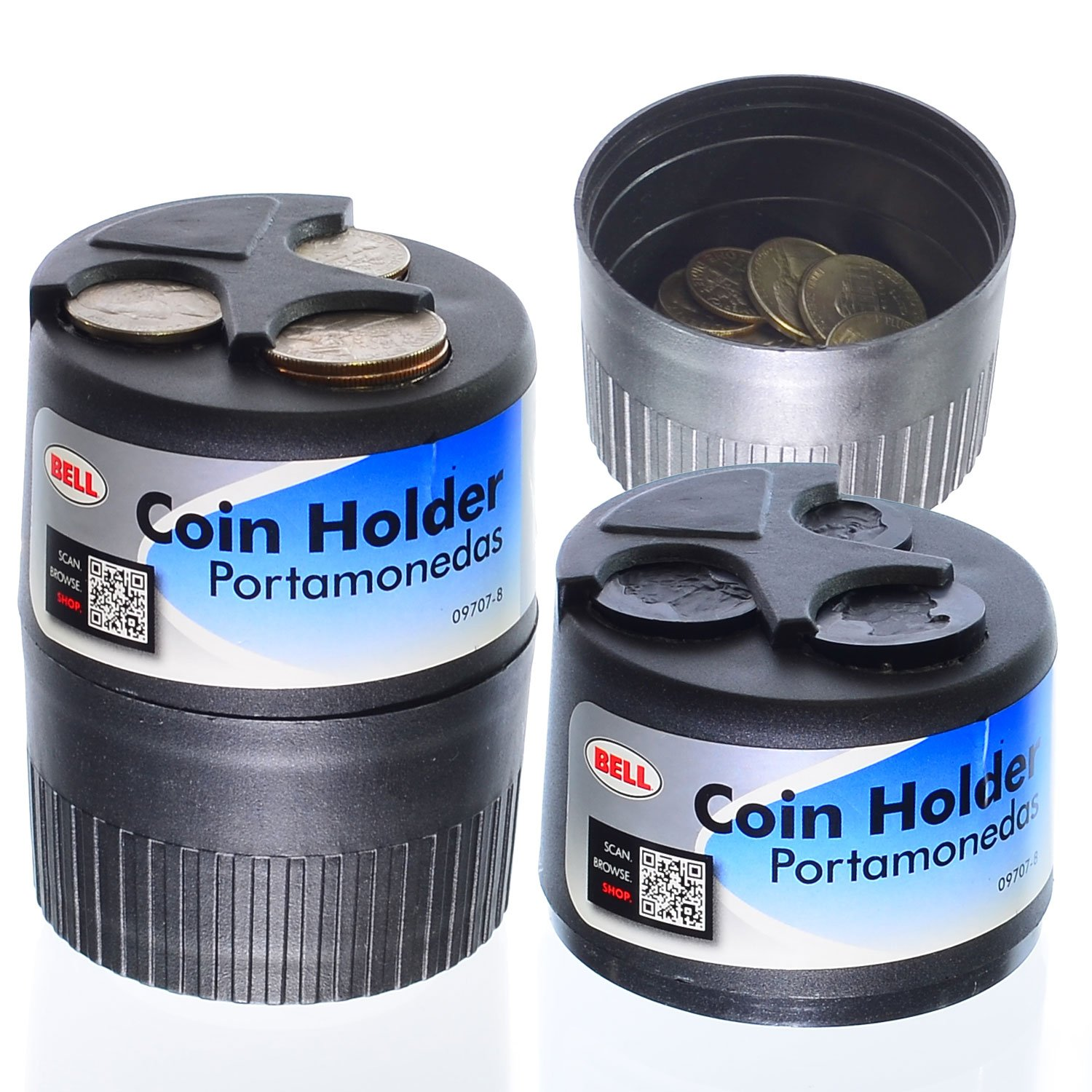 Bell Retrofit Coin Organizer/Lose Change Holder with Hidden Coin Dump Bowl, Fits in Drink Cup Holder 1450