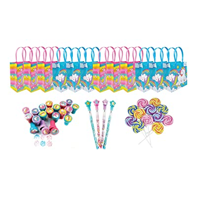 a2c41f5d1e7 TINYMILLS Unicorn Birthday Party Favor Set of 60 pcs (12 Treat Bags, 24  stampers