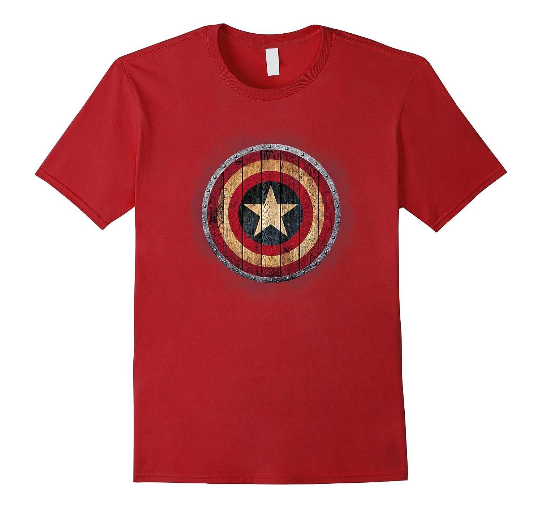 Captain America Shield Wood Print Graphic T Shirt Th