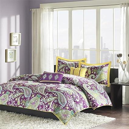 Intelligent Design Melissa Comforter Set Full/Queen Size   Purple Yellow,  Paisley U2013 5