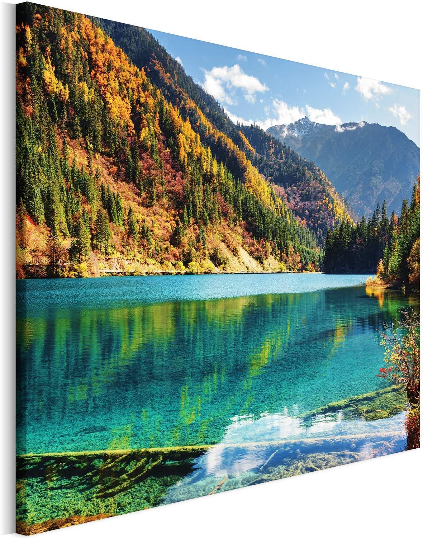 Revolio - Cuadro en Lienzo - impresión artística - Decoracion de Pared - Tamaño: 50x40 cm - Paisaje montańas Verde