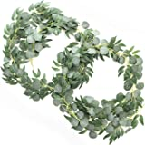 Ling's moment Artificial Eucalyptus and Willow Garlands, 2pcs Fake Vines Greenery Leaves for Wedding Backdrops/Arch/Flower Ga
