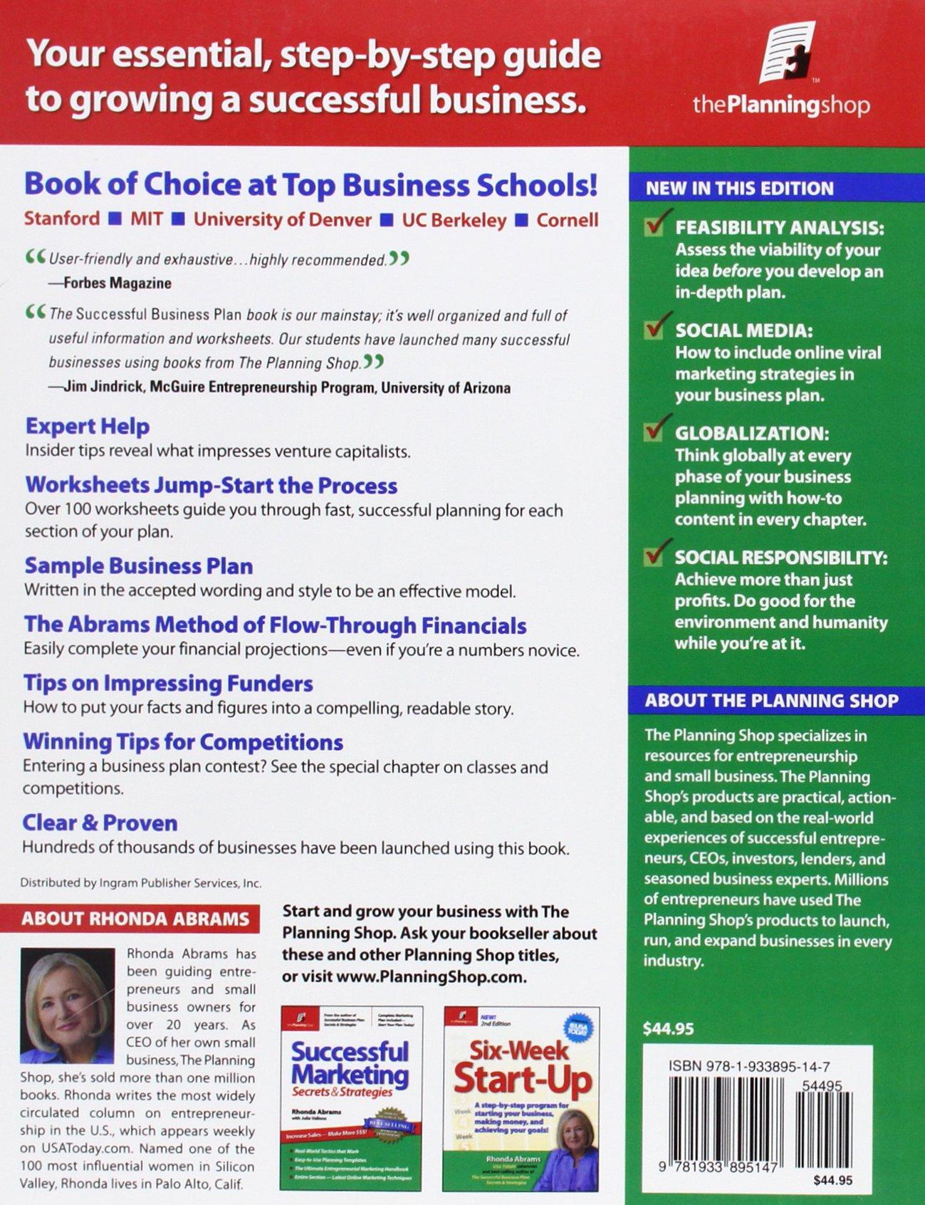 amazon com successful business plan secrets strategies amazon com successful business plan secrets strategies successful business plan secrets and strategies 9781933895147 rhonda abrams