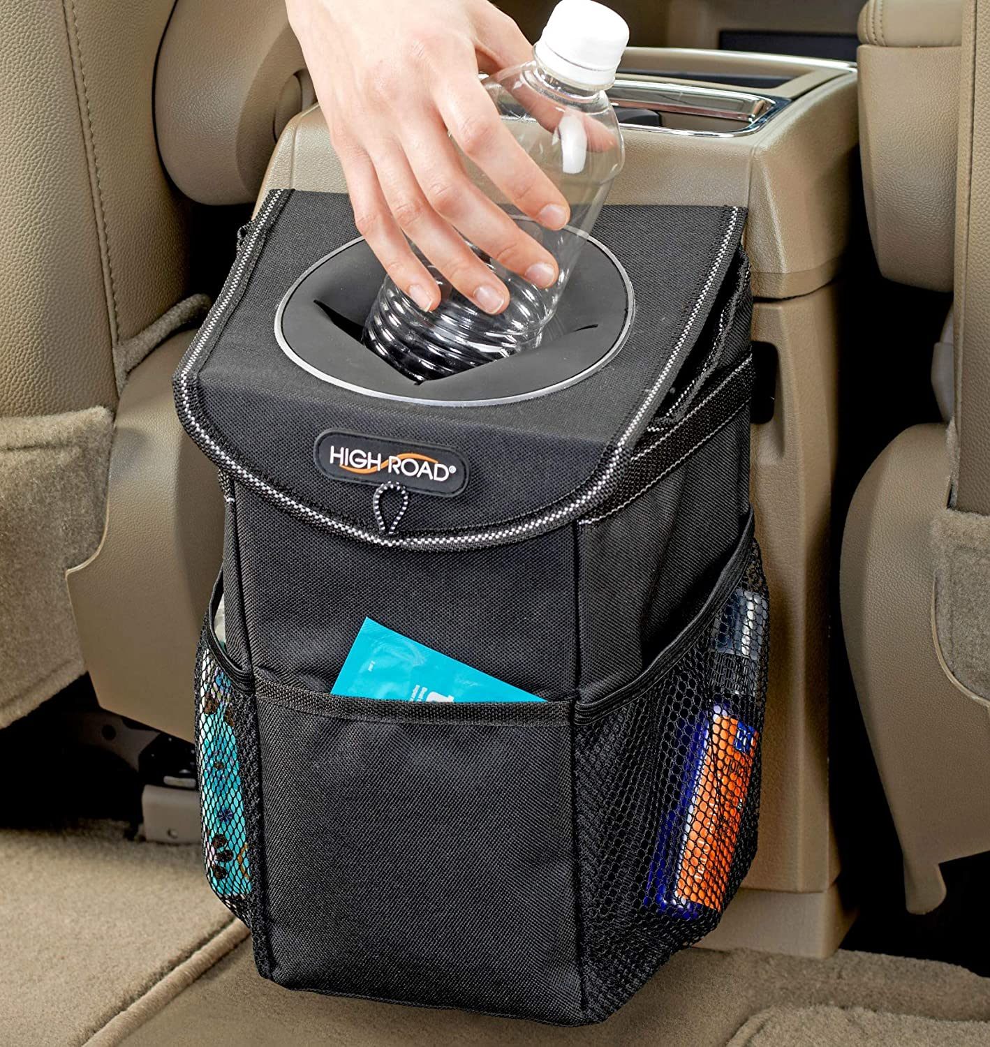 High Road StashAway Car Trash Can with Lid and Storage Pockets Talus