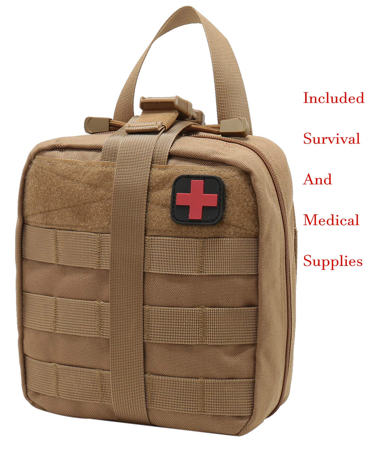 Carlebben Survival Medical Kit First Aid Kit Trauma Kit EMT Pouch Molle Ifak TAN