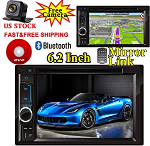 For Dodge Ram 1500 2500 3500(2000-2009) Car Stereo Radio Double Din Indash 6.2'' DVD/CD/MP3 Player Touch Screen Mirror Link For GPS Navigation Bluetooth Hands-free Call FM/AM Radio+Camera