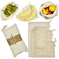 Eco Gro. - Reusable Cotton Mesh Produce Bags - Organic Cotton, Durable, Double Stitched, Washable | 7 PCE Set…