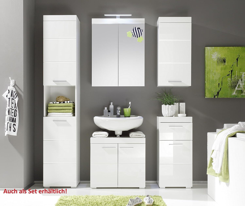 Furnline Amanda High Gloss Bathroom Furniture Tall Cabinet, White:  Amazon: Kitchen & Home