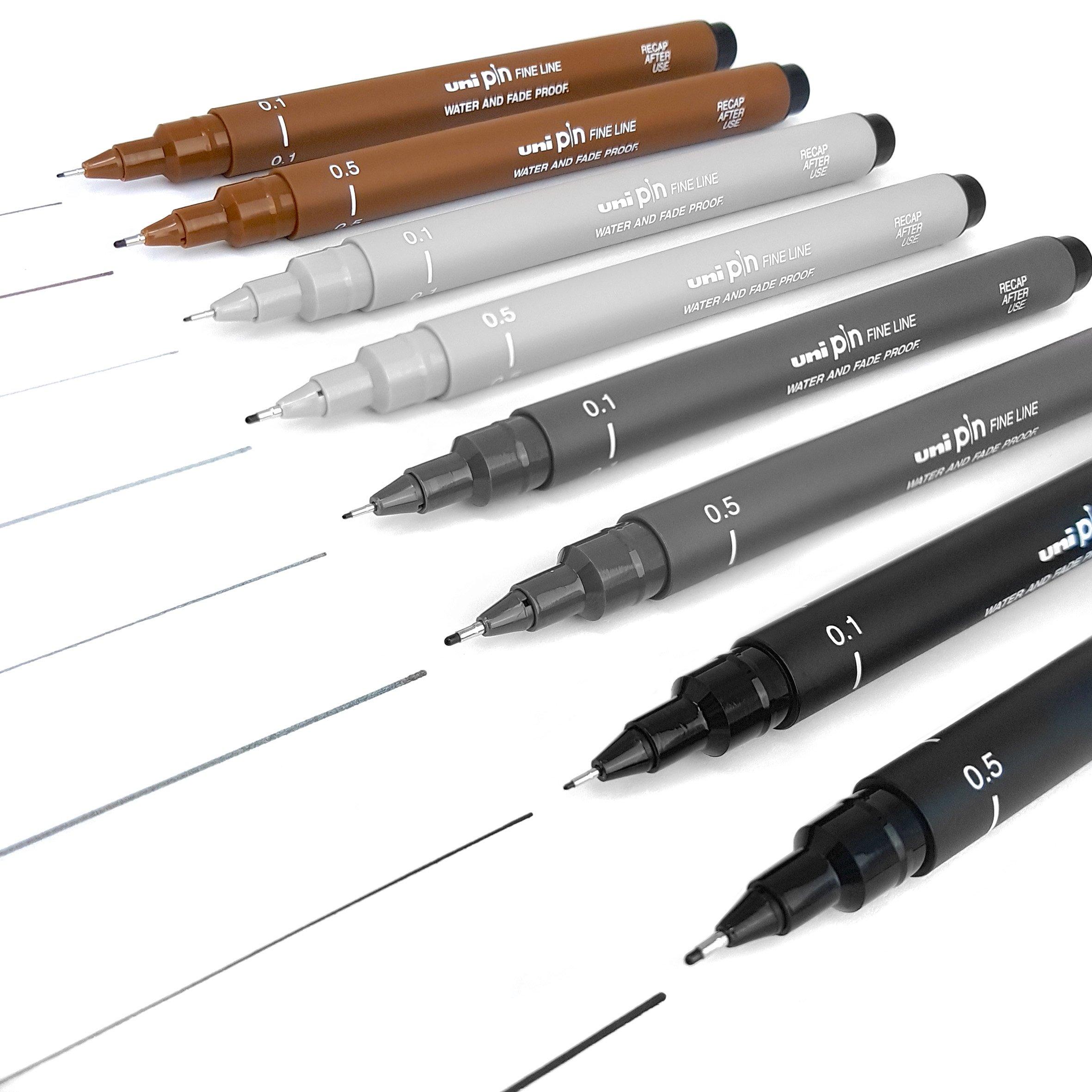 Uni Pin Fineliner Drawing Pen - Sketching Set of 8-0.1mm/0.5mm - Black, Dark Grey, Light Grey, and Sepia by Uni Pin (Image #2)