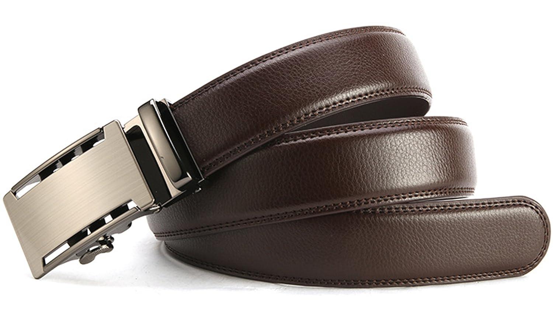 Cintur/ón de Cuero Ajustable Marr/ón con Hebilla Autom/ática 35mm Ancho ITIEZY Cintur/ón para Hombre