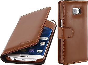 StilGut Talis, custodia in vera pelle per Samsung Galaxy S7 edge cognac con tasche per carte di credito, biglietti da visita e banconote, cognac