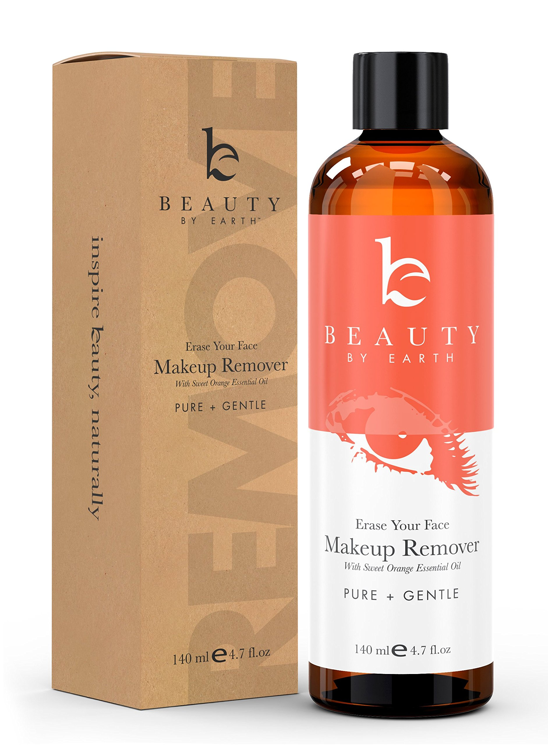 Makeup Remover - Organic & Natural Ingredients, Use with Eye Makeup Remover Wipes or Pads, Oil Free Makeup Remover Leaves Face Cleaner and Deals with Removing Waterproof Makeup, Zero Residue on Skin by Beauty by Earth