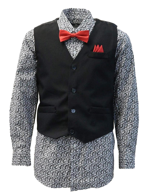 e766e500 Amazon.com: Vittorino Boys 4 Piece Suit Set with Vest Shirt Tie Pants and  Hankerchief: Clothing