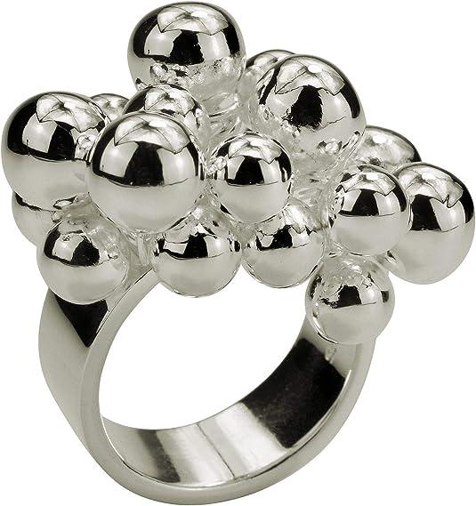 SILBERMOOS Damen Ring Designring mit beweglichen Kugeln Kugelring opulent extravagant 925 Sterling Silber