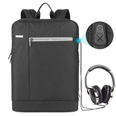 Prasacco Laptop Backpack Slim, 15.6 inch Water Resistant Travel School Business Computer Backpack With Headphone Interface and Anti- theft Pocket