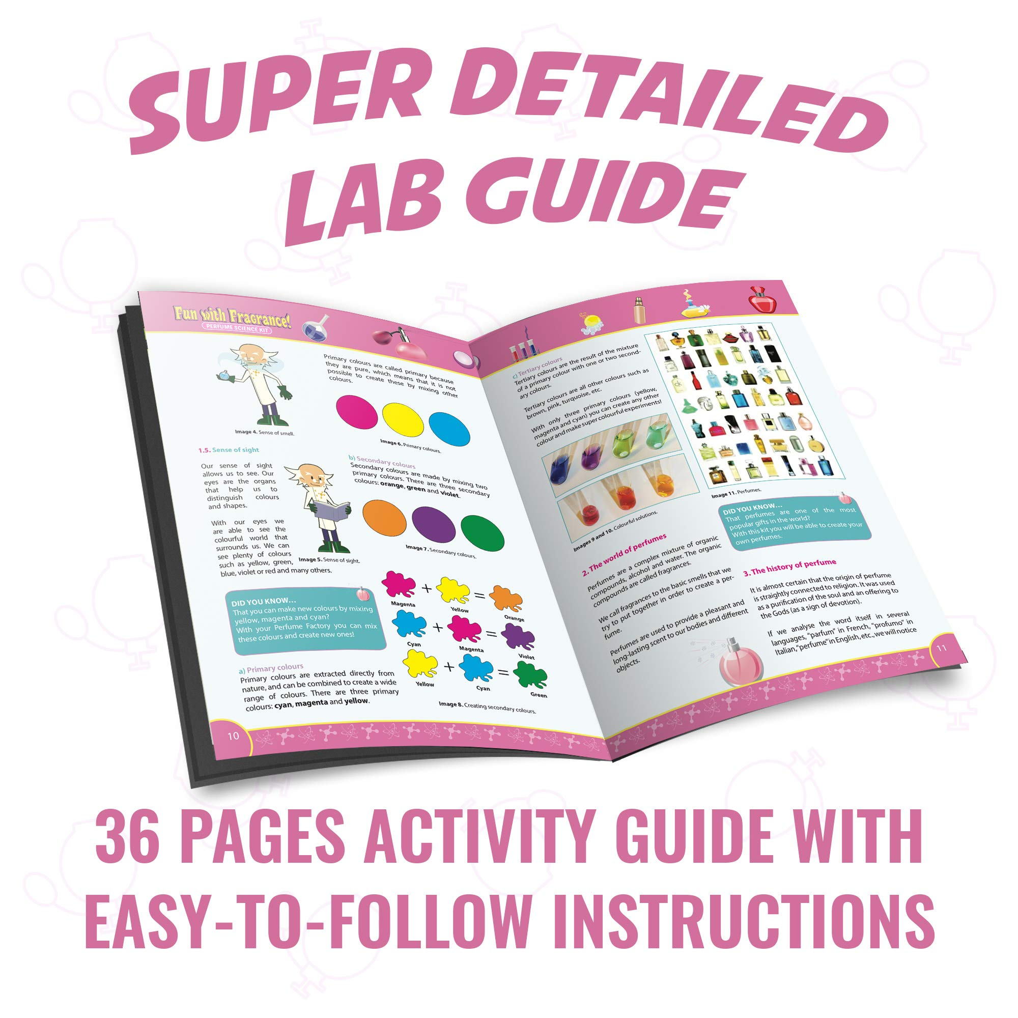 Playz Fun with Fragrance Perfume Making Science Kit for Kids - 13+ STEM Experiments & DIY Activities to Learn the Chemistry Behind Perfumes with 36 Page Lab Guide & 27+ Tools and Ingredients for Girls by Playz (Image #4)
