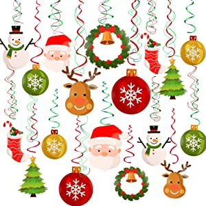 Konsait Christmas Hanging Swirl Decoration Kit(32pcs), Merry Christmas Swirls Garland Xmas Tree Snowman Socks Santa Foil Hanging Ceiling for Xmas Winter Wonderland Holiday Party Decor Supplier