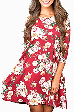 75b2a278351 The Aliby Women s Long Sleeve Floral T Shirt Dress Causal Round Neck Tunic  Dress - Red