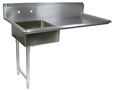 John Boos E Series Stainless Steel Undercounter Dishtable, 8u0026quot; Deep Sink  Bowl, 50u0026quot