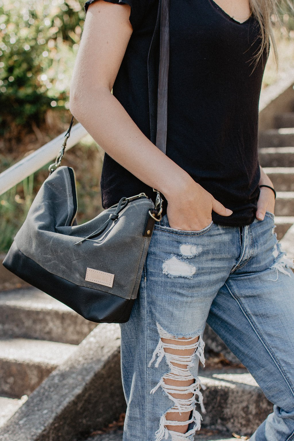 Alsea Crossbody in Waxed Canvas and Leather