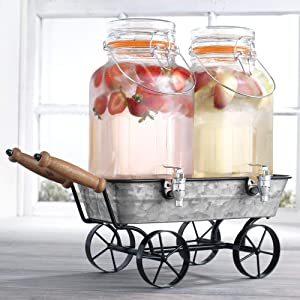 Two (2) 1 Gallon Each Quality Ice Cold Clear Glass Jug Beverage Drink Dispensers With Metal Wagon Display Caddy Stand Airtight Hermetic Seal- For Outdoors, Parties, & Daily Use