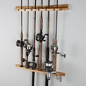 Rush Creek Creations 2-Piece 6 Fishing Rod Rack Storage Wall Mount - Easily Installed Fishing Pole Holder, Pine Finish