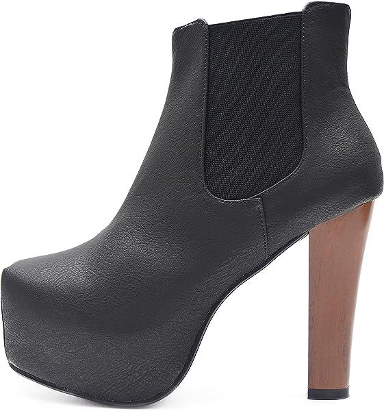 4d41a626d2f072 Kayla Shoes Plateau Chelsea Boots Holzabsatz Optik (36
