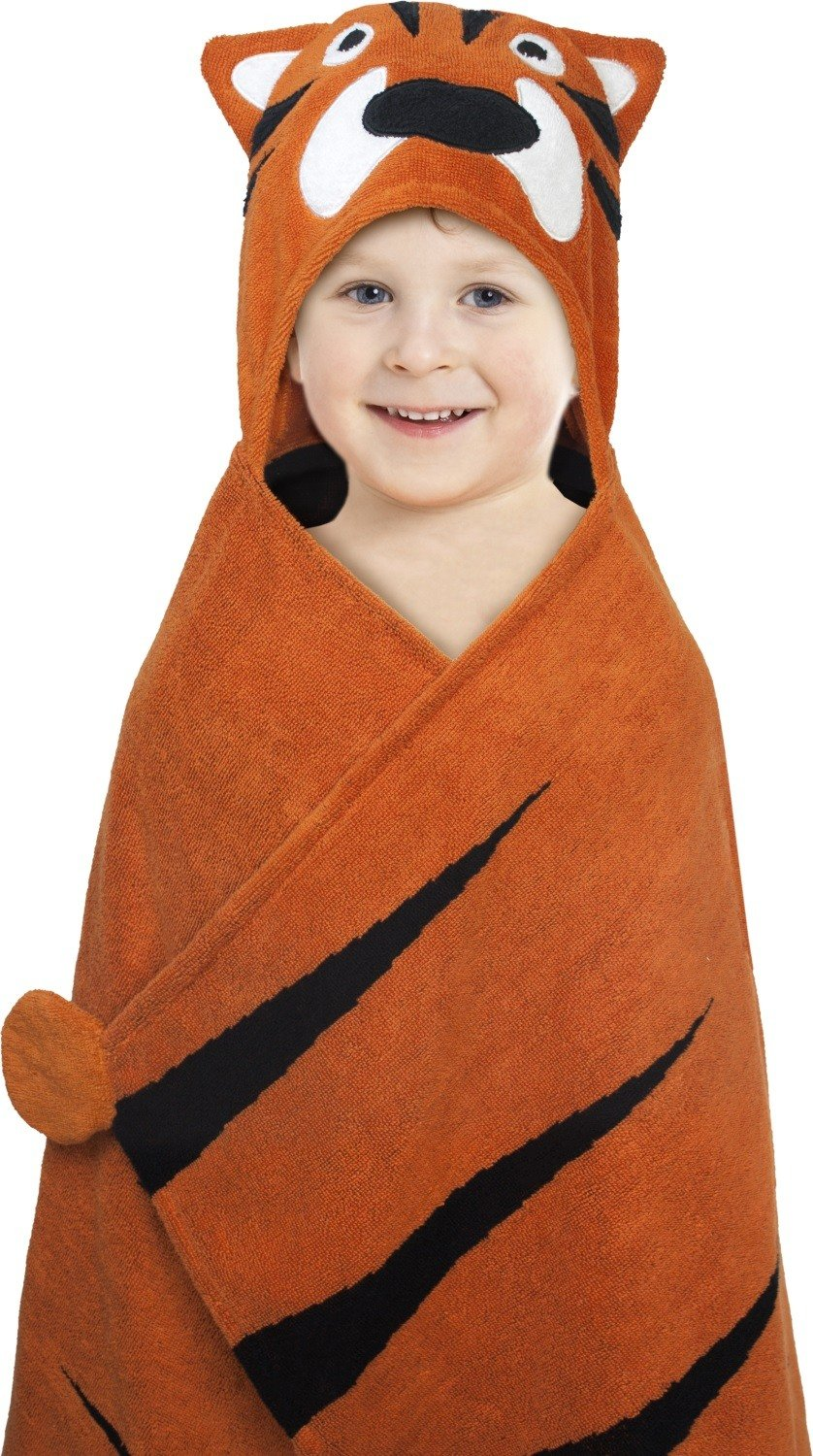 Hooded Towel For Kids, Oversize Cotton Character Hood Towel - Makes Getting Dry Fun - Ideal Beach Towels for Toddlers and Small Children - Use at the Pool or Bath Time, 27 x 47'', Tiger