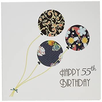 Amazon 3dRose Greeting Cards Happy 55Th Birthday Modern Stylish Floral Balloons Elegant Black Brown Blue 55 Year Old Bday Set Of 6 Gc 161996 1
