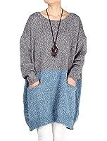 Vogstyle Robe Pull Surdimensionné Knitting avec Poches Femme