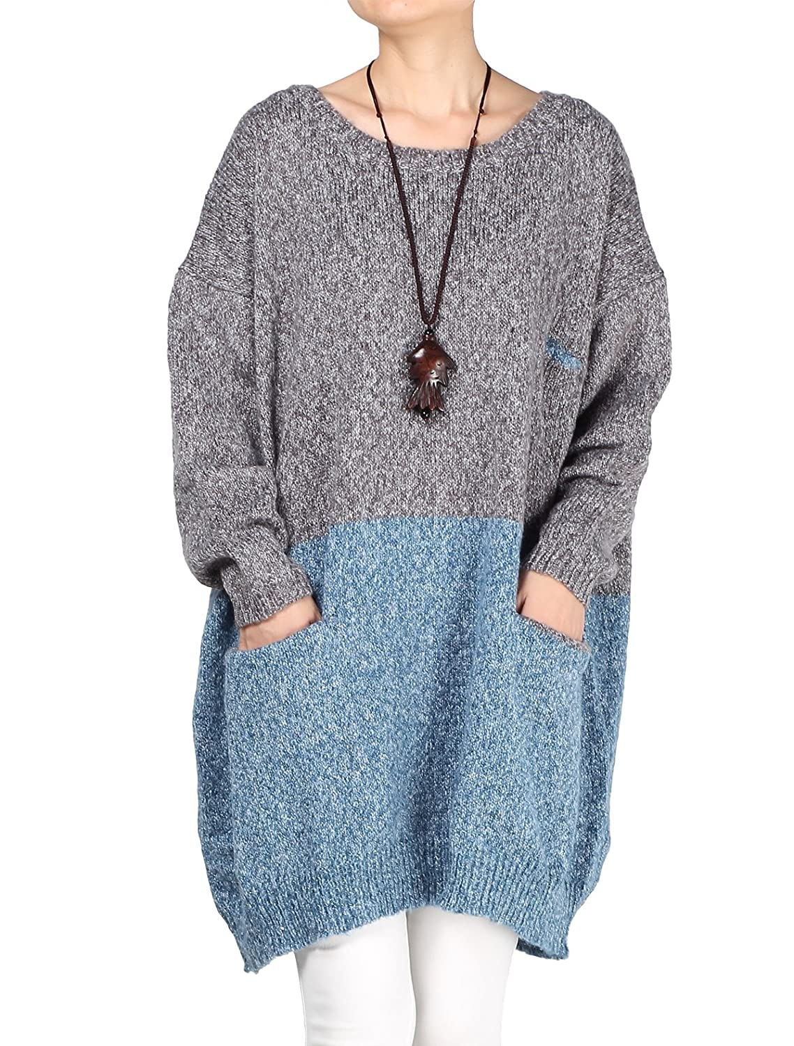 Amazon.com: Womens Oversized Dress Ladies Knitted Baggy Sweater ...