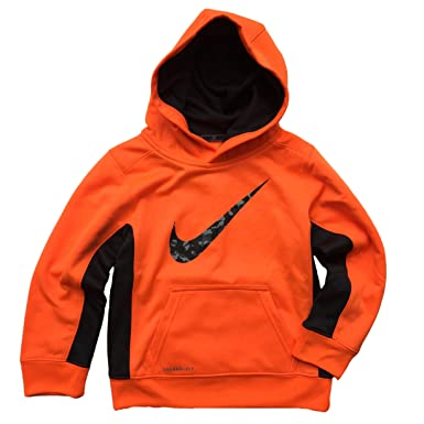Nike Boys Therma-FIT Camo Swoosh Hoodie - Bright Orange (Size 6)