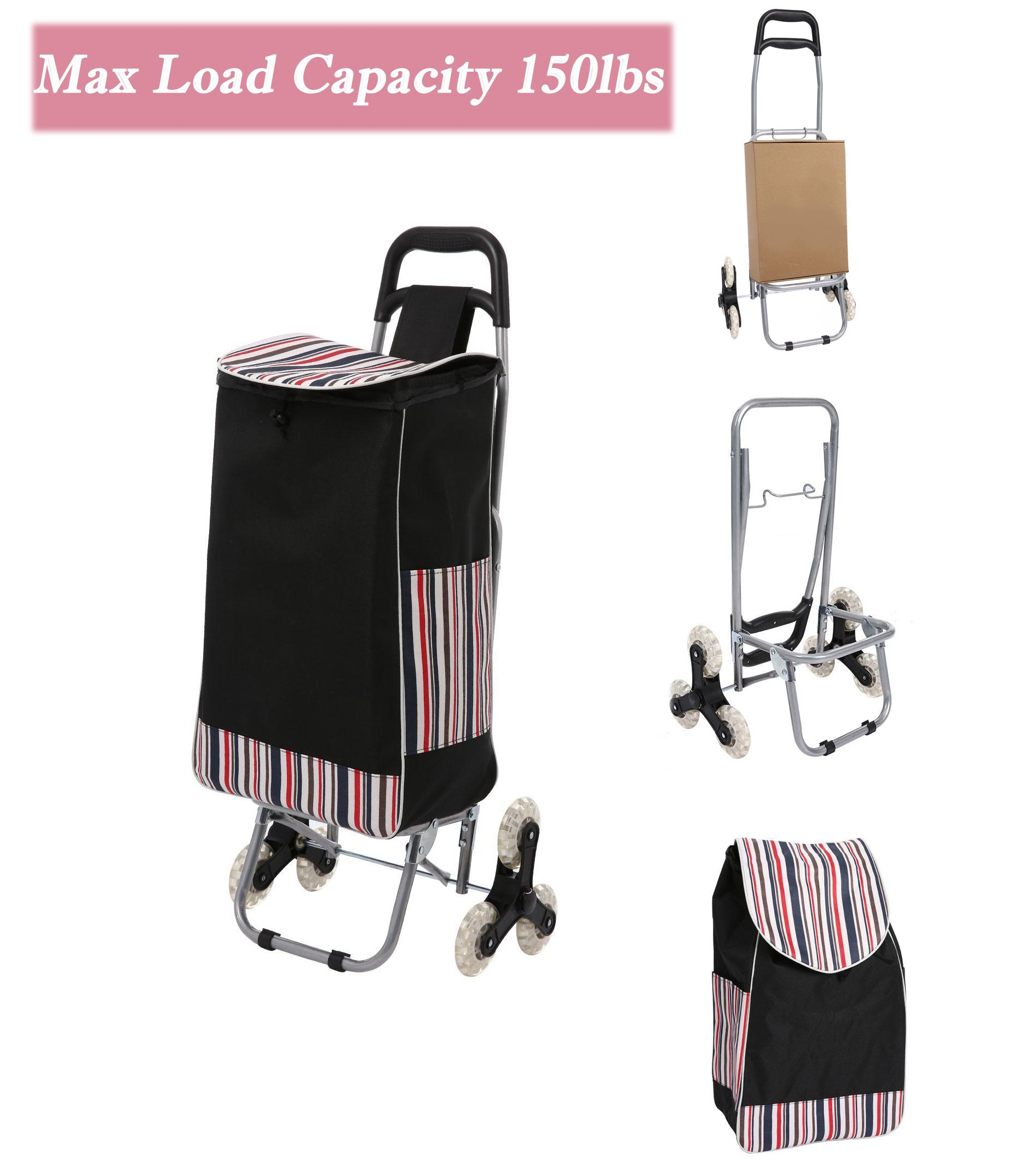 Folding Shopping Cart, Waterproof Grocery Laundry Utility Cart Stair Climbing Trolley Dolly with Wheel, Max Load Capacity 150lbs