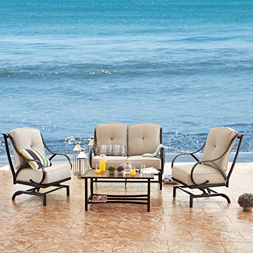 PatioFestival Outdoor Conversation Set Metal Rocking Chair Patio Loveseat Coffee Table All Weather Furniture