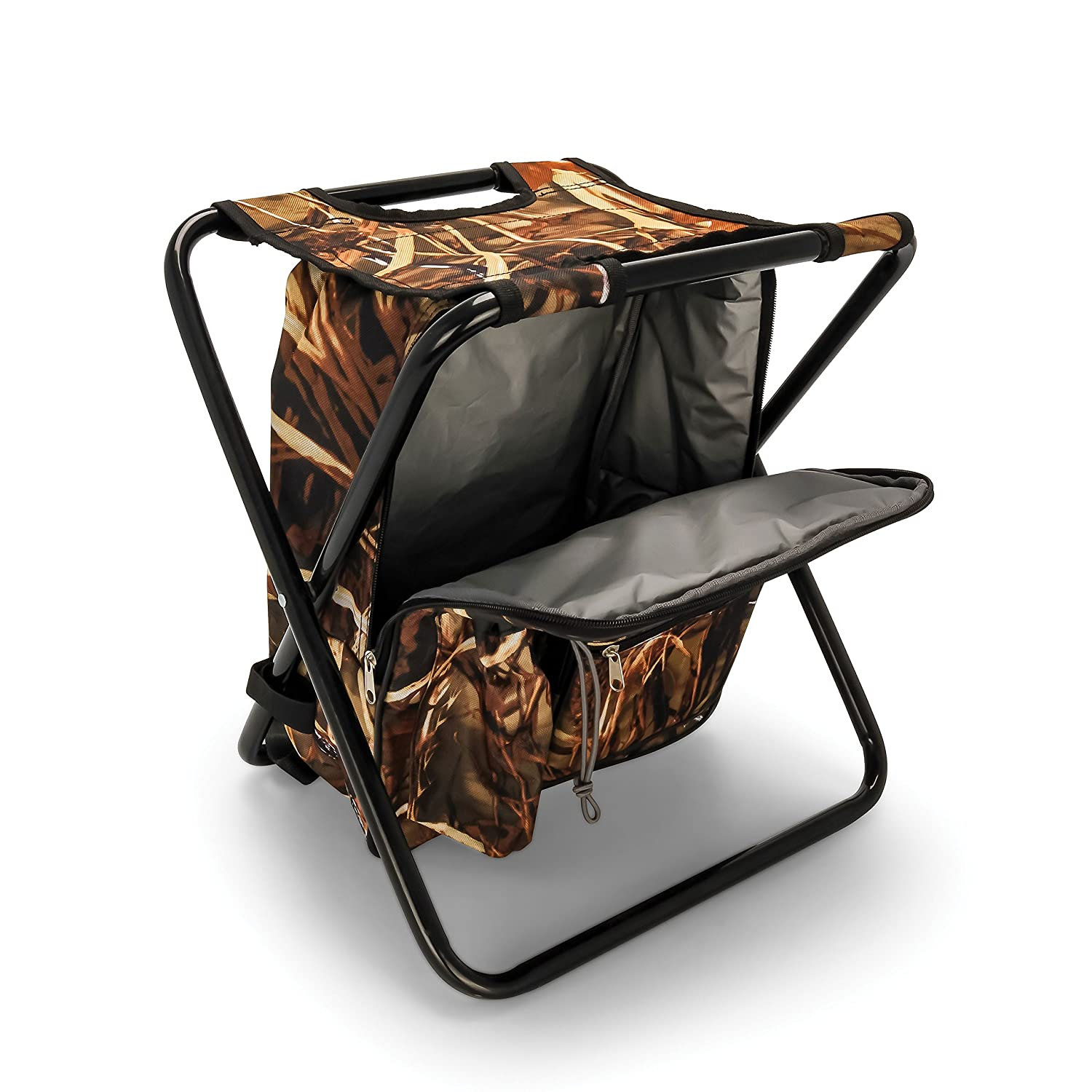 Camco Folding Camping Stool Backpack Cooler Trio- Camping Hiking Bag with  Waterproof Insulated Cooler Pockets and Sturdy Legs for Seating 22d4ede668ecb