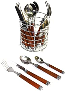 Nature Home Decor RE6128 Rainbow Elite Collection Flatware Set of 24-Piece Service of Six with Elegant Dark Wood Finish Resin Handles and Stainless Steel Storage Caddy